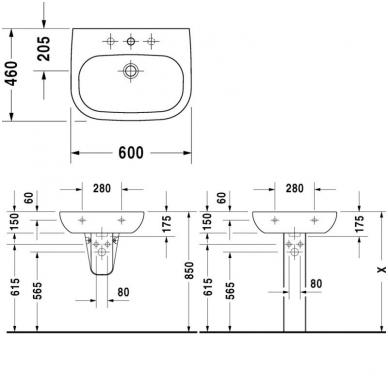 Duravit D-Code pakabinamas praustuvas, 55 x 46, baltas 3