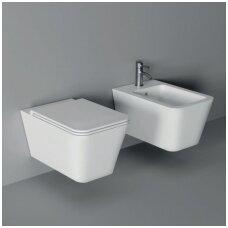 Alice Ceramica Hide Rimless pakabinamas WC su lėtai nusileidžiančiu dangčiu, įvairių spalvų