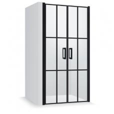 Baltijos Brasta Gerda Nero Cube industrinio stiliaus dušo durys, 121,4 cm, profiliai juodi, stiklas skaidrus