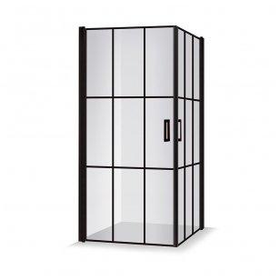 Baltijos Brasta Viktorija Nero Cube industrinio stiliaus dušo kabina, 87,5 x 87,5 cm, juodas profilis, skaidrus stiklas