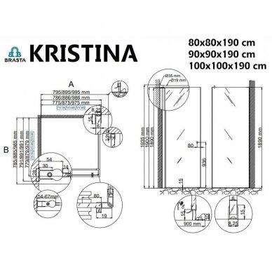 Baltijos Brasta Kristina dušo kabina, auksinis profilis, dydžių ir stiklo spalvų pasirinkimas 3