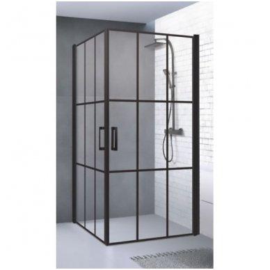 Baltijos Brasta Viktorija Nero Cube industrinio stiliaus dušo kabina, 87,5 x 87,5 cm, juodas profilis, skaidrus stiklas 2