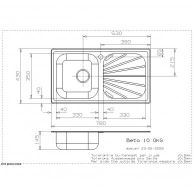 Reginox Beta 10 virtuvinė plautuvė, 78 x 43, nerūdijančio plieno 2