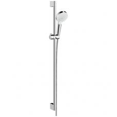 Hansgrohe Crometta Vario dušo komplektas, 0,90m strypas, taupanti vandenį galvutė - 9 l/min, balta/chromuota