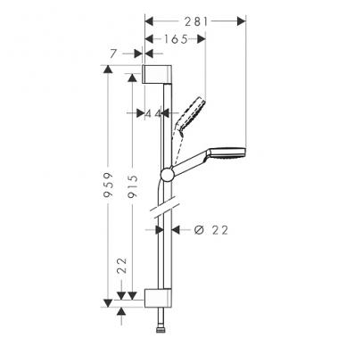 Hansgrohe Crometta Vario dušo komplektas, 0,90m strypas, taupanti vandenį galvutė - 9 l/min, balta/chromuota 2