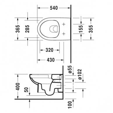 Duravit DuraStyle Basic pakabinamas WC su Rimless, lėtai nusileidžiantis dangtis, baltas 3