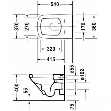 Duravit DuraStyle pakabinamas WC su lėtai nusileidžiančiu dangčiu, baltas 2