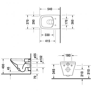Duravit DuraStyle pakabinamas WC su Rimless, lėtai nusileidžiantis dangtis, baltas 3
