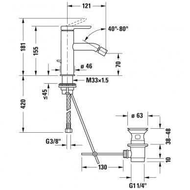 Duravit C.1 bidė maišytuvas su dugno vožtuvu, chromas 2