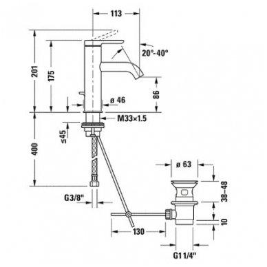 Duravit C.1 praustuvo maišytuvas, M - dydis, su dugno vožtuvu, chromas 2