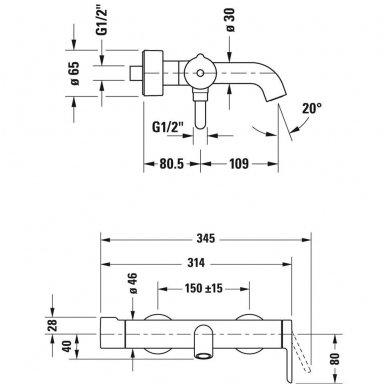 Duravit C.1 vonios maišytuvas, chromas 2