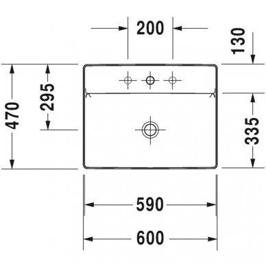 Duravit DuraSquare praustuvas, 60 x 47 cm, baltas 2
