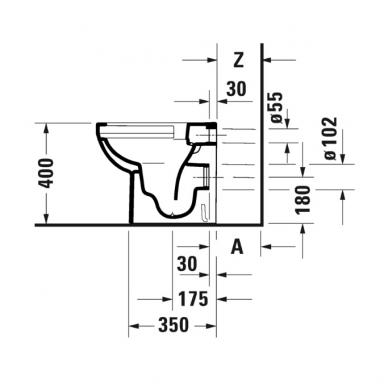 Duravit DuraStyle Basic pristatomas klozetas, su Rimless, baltas 3