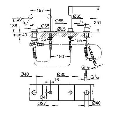 Grohe Essence vonios maišytuvas montuojamas į kraštą, chromas 2