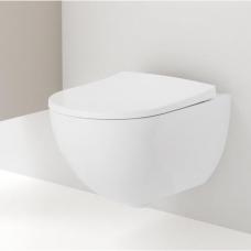 Geberit Acanto Rimfree pakabinamas WC su lėtai nusileidžiančiu dangčiu, balta/chromas, lengvai nuimami vyriai