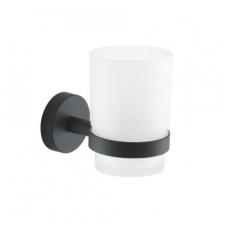 Gedy G Eros stiklinė su laikikliu, juodos matinės spalvos