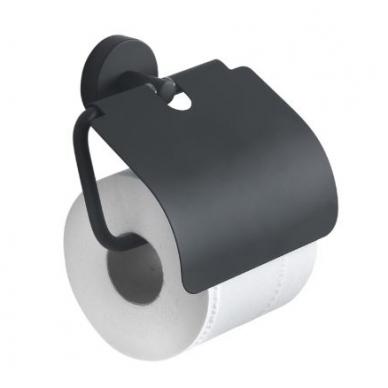 Gedy Eros tualetinio popieriaus laikiklis su stogeliu, juodos matinės spalvos
