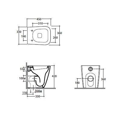 Globo Stone Compact pristatomas WC, 45cm, baltas 2