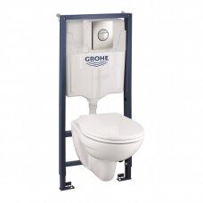 Grohe potinkinio komplektas 4 in 1 Grohe Bau klozetas su lėtai nusileidžiančiu dangčiu + WC rėmas + mygtukas Nova Cosmo chromas