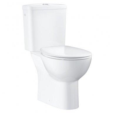 Grohe BauCeramic Rimless pastatomas WC su lėtai nusileidžiančiu dangčiu, baltas