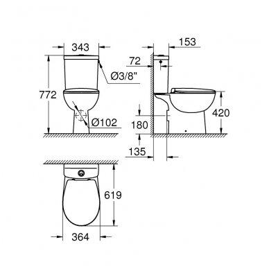 Grohe BauCeramic Rimless pastatomas WC su lėtai nusileidžiančiu dangčiu, baltas 2