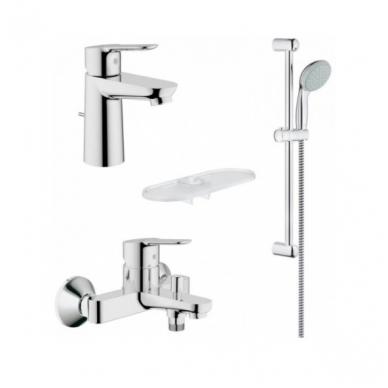 Grohe BauEdge vonios komplektas (vonios maišytuvas, praustuvo maišytuvas, dušo stovas)