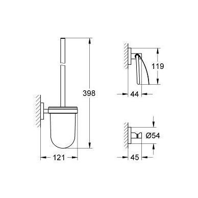 Grohe Essentials aksesuarų rinkinys (kabliukas, tualetinio popieriaus laikiklis, tualeto šepetys), chromas 2