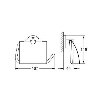 Grohe Essentials tualetinio popieriaus laikiklis su stogeliu, chromas 2