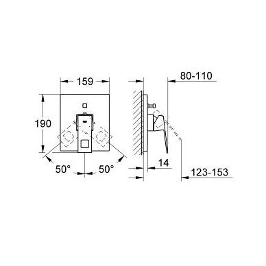 Grohe Eurocube potinkinis vonios/dušo maišytuvas, chromas 2
