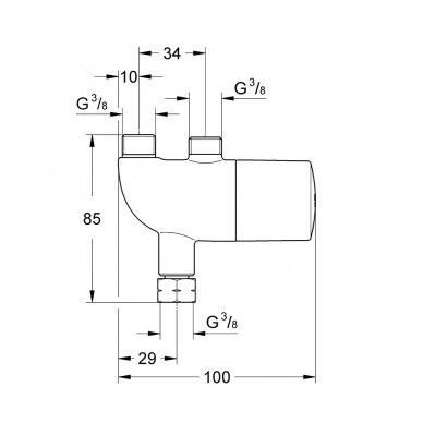 Grohe Grohtherm Micro praustuvo maišytuvo termostatas, chromas 2