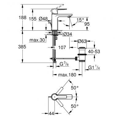 Grohe Lineare New praustuvo maišytuvas, XS dydis, chromas 2