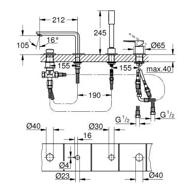 Grohe Lineare New vonios maišytuvas montuojamas į vonios kraštą, chromas 2