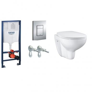 Grohe potinkinio rėmo komplektas su Bau Rimless pakabinamu WC, lėtai nusileidžiančiu dangčiu