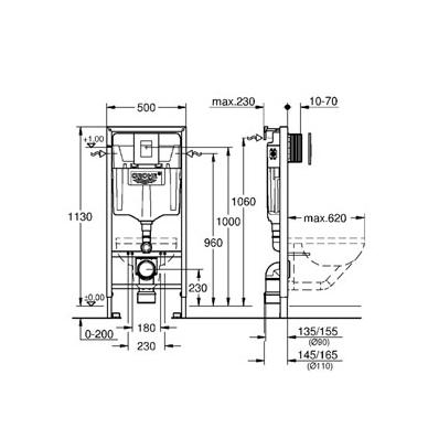 Grohe Rapid SL potinkinis rėmo komplektas su chromuotu mygtuku 2