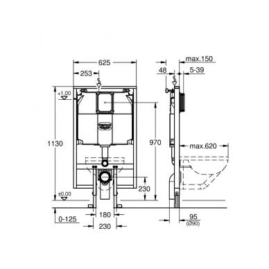Grohe Rapid SL vietą taupantis potinkinis WC rėmas, 8 cm gylio 2