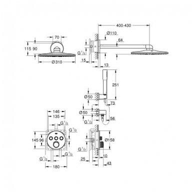 Grohe SmartControl 310 potinkinis komplektas, chromas 3