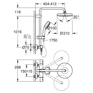 Grohe Tempesta termostatinė dušo sistema 210, chromas 4