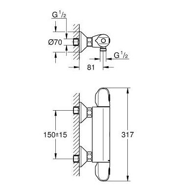 Grohe Grohtherm 1000 New dušas termostatas, chromas 2