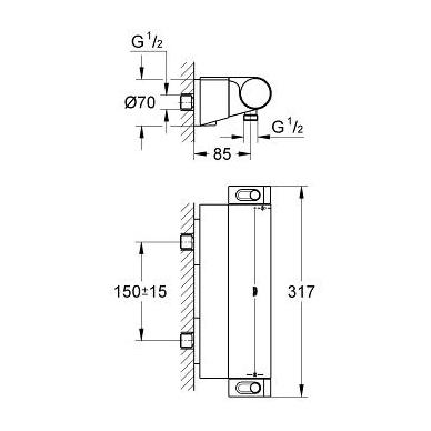 Grohe Grohtherm 2000 New dušo termostatas su lentynėle, chromas 2
