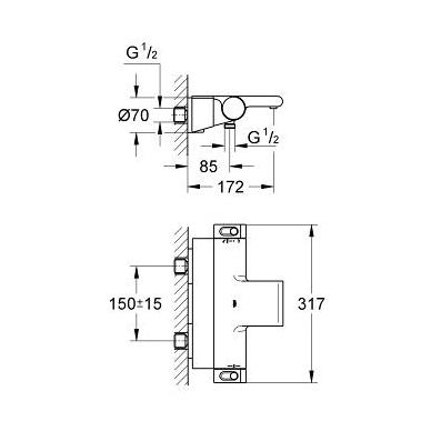 Grohe Grohtherm 2000 New vonios termostatas su lentynėle, chromas 2