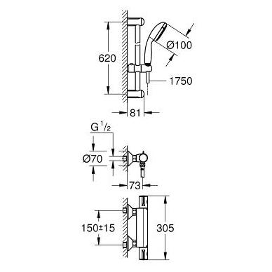 Grohe Grohtherm 800 dušo termostatas su dušo komplektu Tempesta II, chromas 2