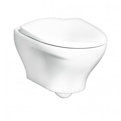 """Gustavsberg Estetic Hygienic Flush pakabinamas WC su lėtai nusileidžiančiu dangčiu ir """"Ceramicplus"""" danga, baltas"""