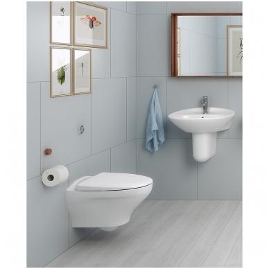 """Gustavsberg Estetic Hygienic Flush pakabinamas WC su lėtai nusileidžiančiu dangčiu ir """"Ceramicplus"""" danga, baltas 2"""