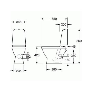 Gustavsberg Nautic Hygienic Flush 1510 pastatomas WC su lėtai nusileidžiančiu dangčiu 5