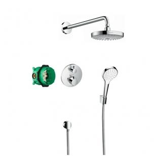 Hansgrohe Design ShowerSet Croma Select S 180 / Ecostat S termostatinis potinkinis dušo komplektas, chromas