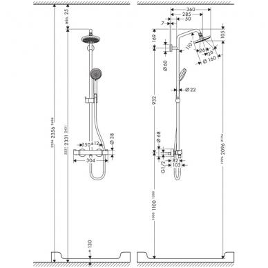 Hansgrohe Croma 160 dušo sistema, chromas 3