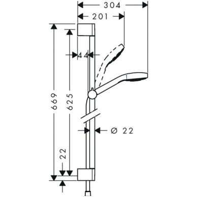 Hansgrohe Croma Select S Vario dušo komplektas, balta/chromo spalva 2