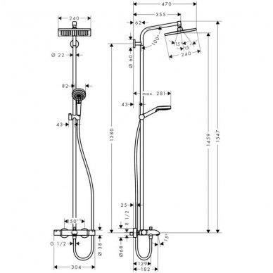 Hansgrohe Crometta E 240 1jet termostatinė vonios/dušo sistema, chromas 2