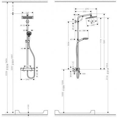 Hansgrohe Crometta E 240 termostatinė dušo sistema, chromas 3