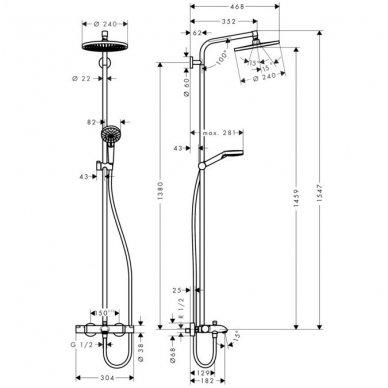 Hansgrohe Crometta S 240 1jet termostatinė vonios/dušo sistema, chromas 2